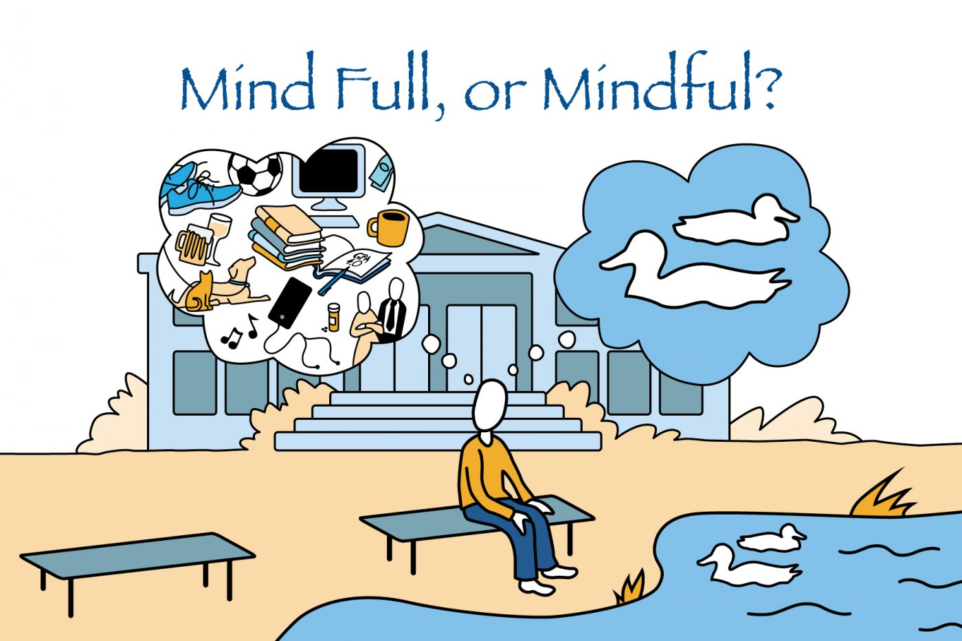 Mind Full or Mindfull college mindfulness illustration