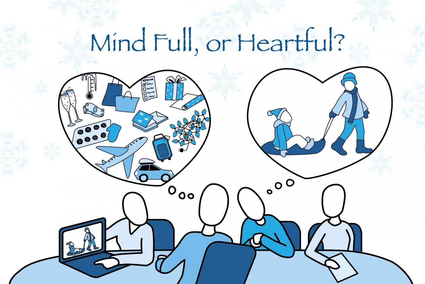 Mind Full or Mindful holiday mindfulness illustration