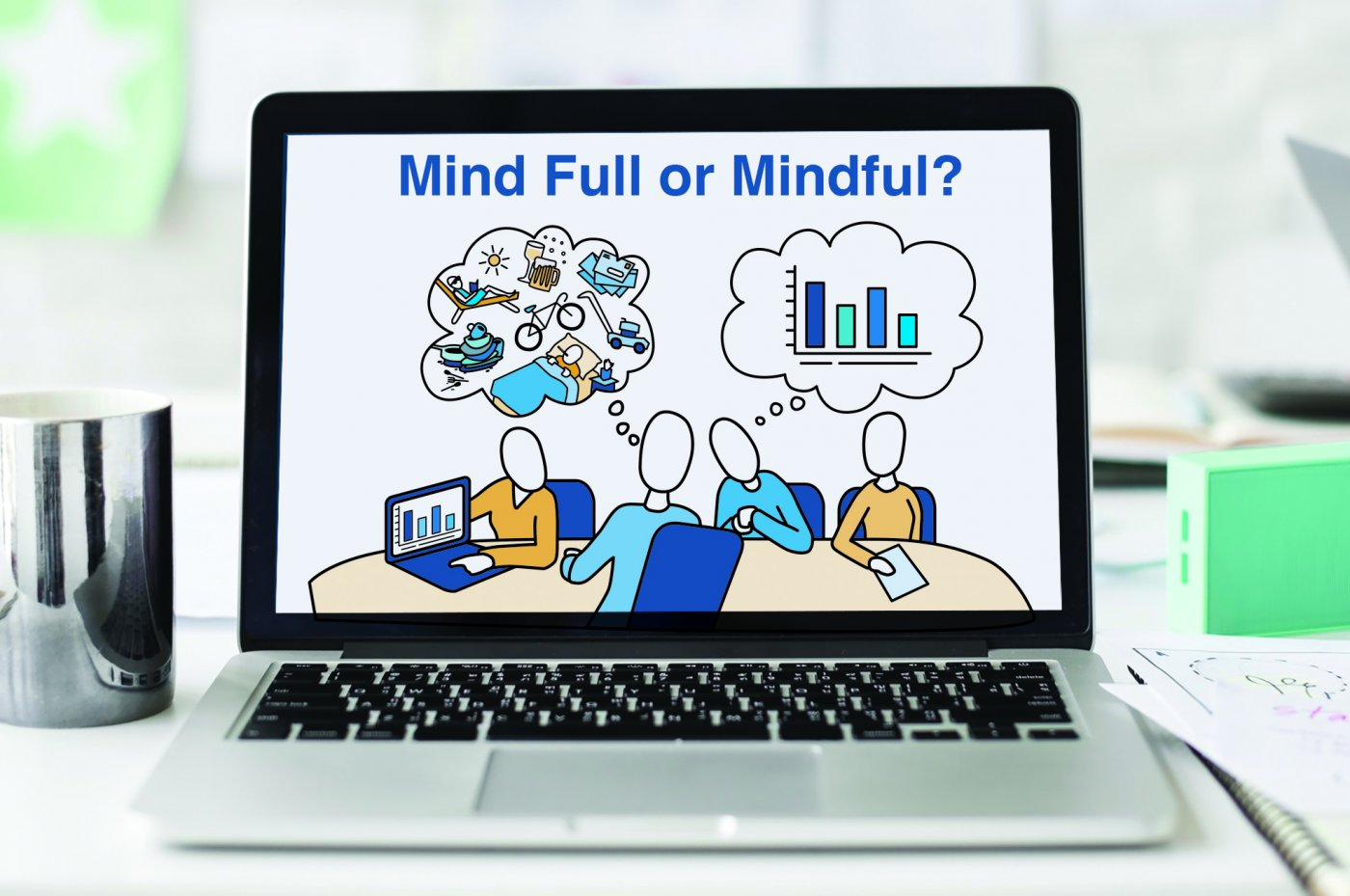Mind Full or Mindful mindfulness illustration on computer