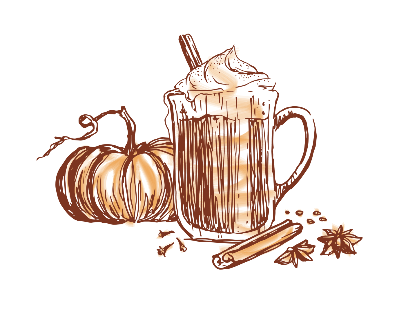 Gold Star pumpkin spice coffee drink illustration