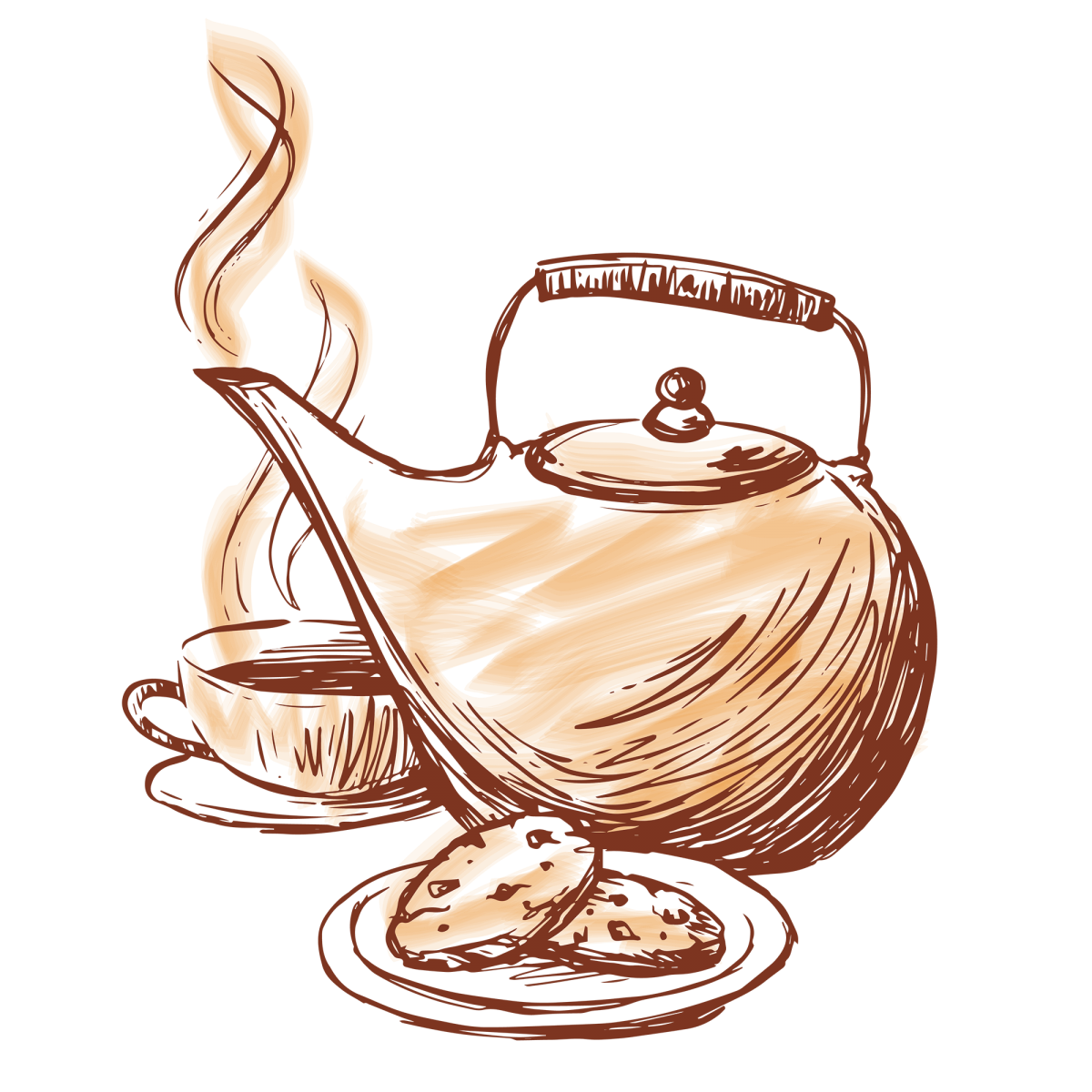 Gold Star teapot and cookies illustration
