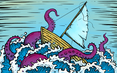Course Correction sailboat storm sea monster octopus tentacles